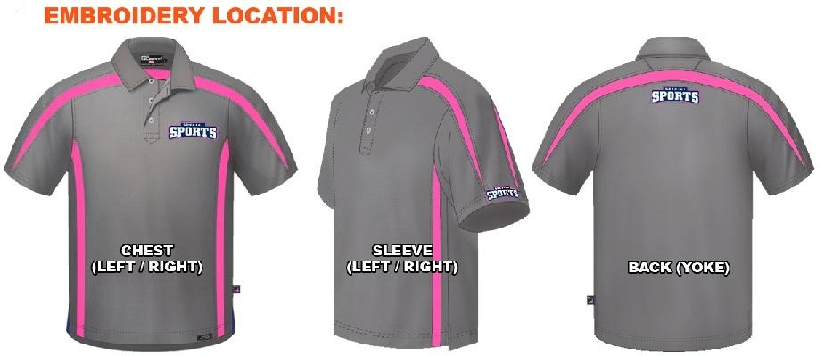 Polo shirts embroidery location guide